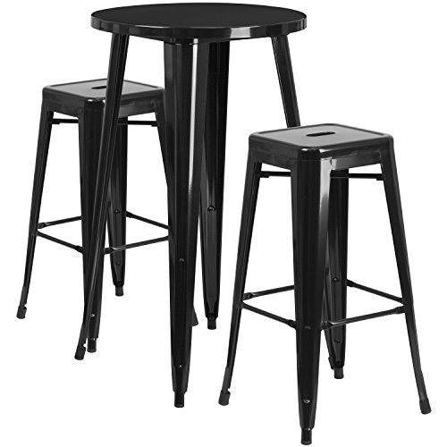 Garden District Metal (Flash Furniture 24'' Round Black Metal Indoor-Outdoor Bar Table Set with 2 Square Seat Backless Stools)