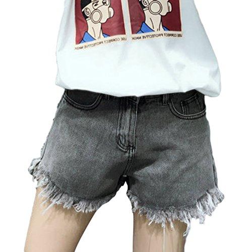 Vita Corti Pantaloncini Nero Jeans Lvraoo Tasche Pantaloni Retrò Distressed Shorts Donna Strappati Alta Denim Con 6qxxPEICna