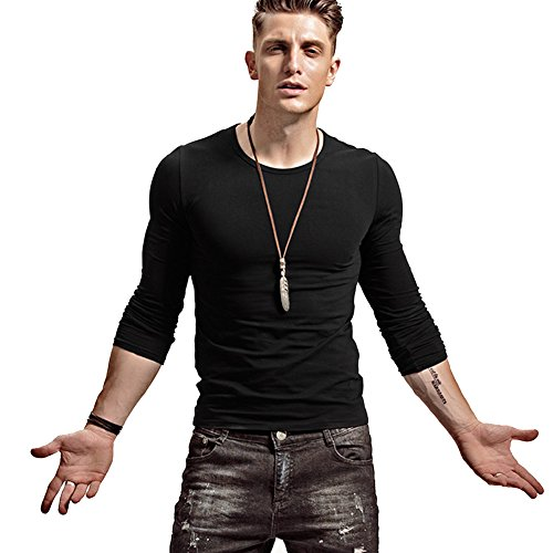 Cotton Muscle Shirt (lalazaba Fitting Men Soft Stretchy Long Sleeves Athletic Muscle Cotton T Shirt (Medium, Black))