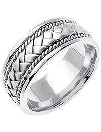 6c42ea7ded3 14K White Gold Braided Basket Weave Men s Comfort Fit Wedding Band (8.5mm)