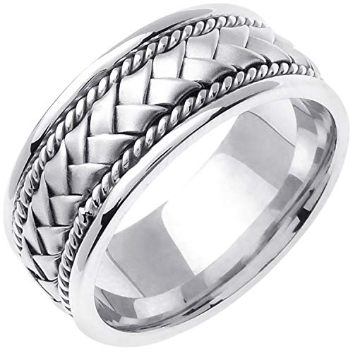 14k White Gold Braided Basket Men's Comfort-fit Wedding Bands (8.5mm) Size-12.5