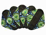 5 Pieces Charcoal Bamboo Mama Cloth/Menstrual Pads/Reusable Sanitary Pads (Pantyliner (8 inch), Peacock)