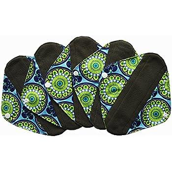 5 Pieces Charcoal Bamboo Mama Cloth/ Menstrual Pads/ Reusable Sanitary Pads (Pantyliner (8 inch), Peacock)