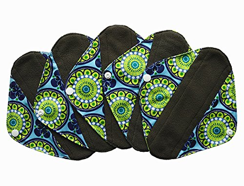 5 Pieces Charcoal Bamboo Mama Cloth/ Menstrual Pads/ Reusable Sanitary Pads (Pantyliner (8 inch), Peacock)