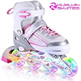 Kuxuan Saya Inline Skates Adjustable for Kids,Girls Rollerblades with All Wheels Light up,Fun Illuminating for Girls and Ladies
