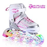 Kuxuan Saya Inline Skates Adjustable for Kids,Girls Rollerblades with All Wheels Light up,Fun Illuminating for Girls and Ladies - Medium