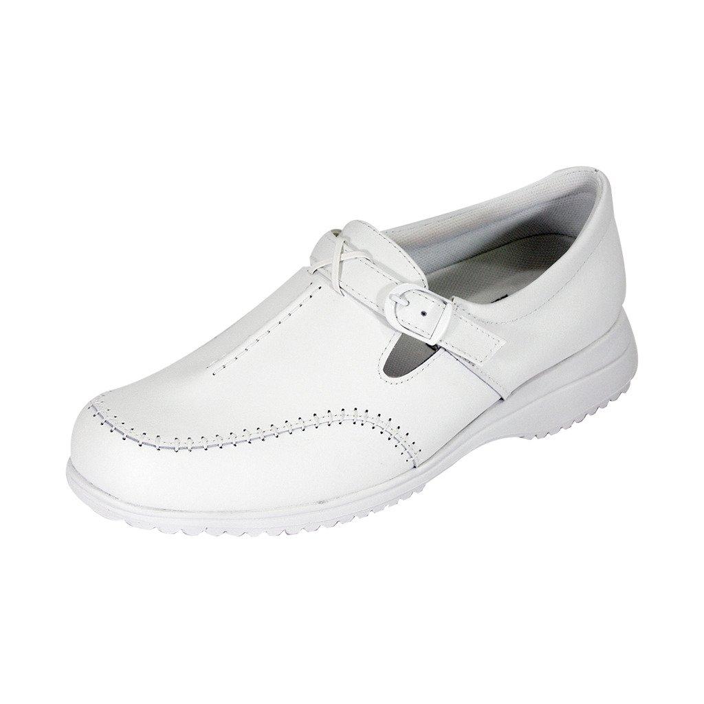 24 Hour Comfort  Lauren Women Wide Width Buckle Comfort Shoes White 11