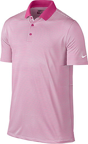 NIKE Golf Victory Mini Stripe Polo (Vivid Pink/White) (X-Large)