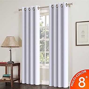 Balichun Blackout Curtains 84-Inch, Thermal Insulated Solid Grommets Curtains for Bedroom (Set of 2 Panels,52 by 84Inch, Light Grey White)