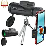 Monocular Telescope for phone 12X50 High-powered BAK4 Prism Low Night Vision Waterproof Fog-proof Smartphone Adapter Tripod Holder for Bird Watching Hunting Camping Hiking Travelling Wildlife (A)