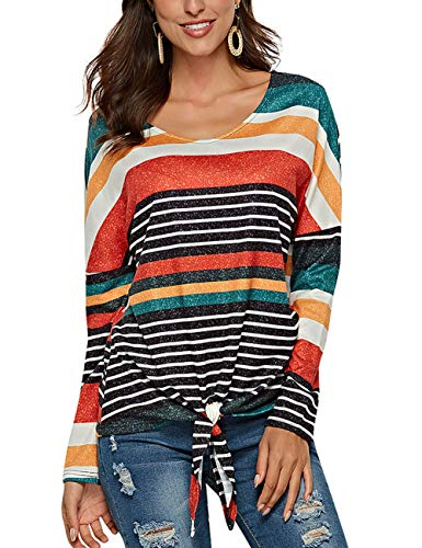 (HUHHRRY Women Casual Stripe Blouse Crewneck Short Sleeve Pullover Tunic Tops Shirts)