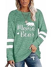 WELINCO Womens Crewneck Sweatshirts Mamabear Color Block Long Sleeve Sweatershirts Tunic Tops