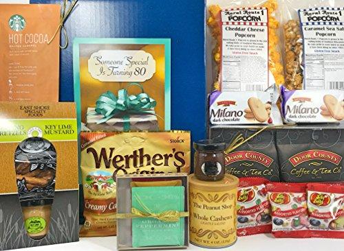 Happy 80th Birthday Gift Box Basket - Send Gourmet Coffees,