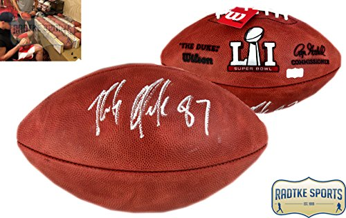 Nfl Super Autographed Bowl (Rob Gronkowski Autographed/Signed New England Patriots Authentic Super Bowl 51 NFL Football)