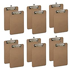 Hard Board Clipboard, Profile Clip With Rubber Grips, Memo Size 9 x 6 - Pack Of 12