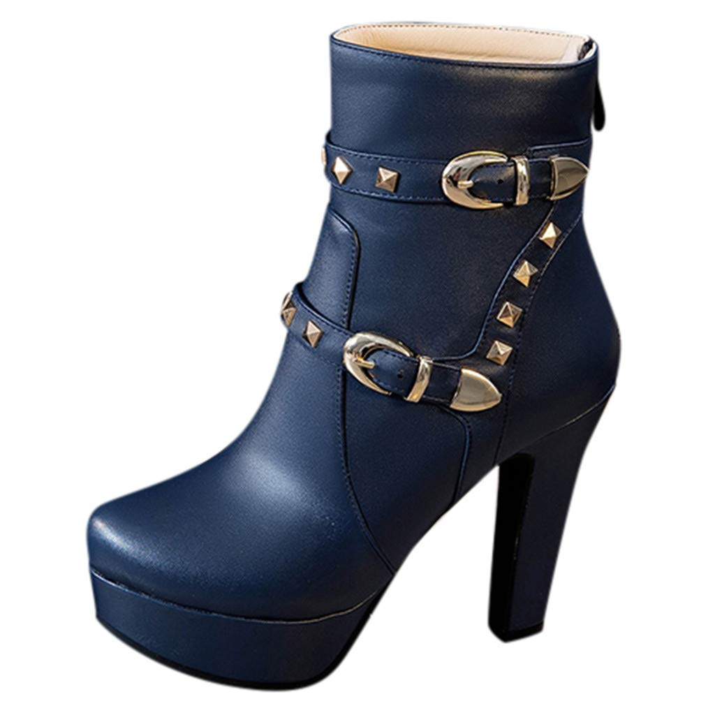 HOSOME Women's Round Head Thick Heel Boots Waterproof Platform High Heel Boots Blue by HOSOME Women Shoes
