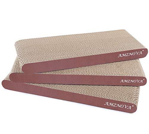 AMZNOVA Cat Scratcher Cardboard Scratch Pads Scratching Lounge Bed, Narrow, Wood Floor Print, 3 Pack ()