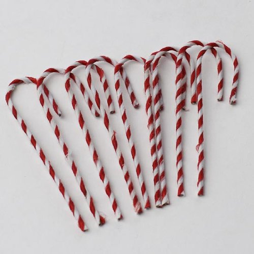 - Uknown Package of 54 Tiny Red and White String Wrapped Wire Candy Canes for Embellishing Packages, Trees and Crafts
