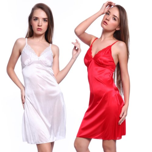 Silky Strappy Satin Lace Trim Chemise negligee Mid length Full Slip Dress