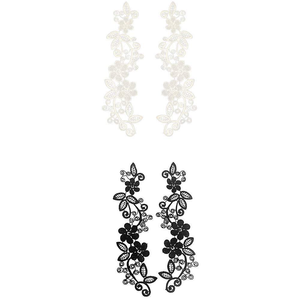 2pcs Blanc//Noir Bricolage Accessoires Dentelle Polyester Stickers d/écoratifs Sauvages V/êtements Robe Chemise /à col Creux Regard