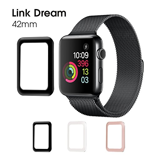 Price comparison product image Apple Watch Screen Protector 42mm Link Dream [ Anti Bubble ] [Scratch Free] Metal Frame Full Coverage Tempered Glass Screen Protector for Apple Watch 42mm Series 2 (Black)-1 Pack (42mm Black)