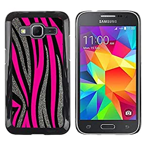 Estuche Cubierta Shell Smartphone estuche protector duro para el teléfono móvil Caso Samsung Galaxy Core Prime SM-G360 / CECELL Phone case / / Silver Pink Lines Fur Animal Pattern /