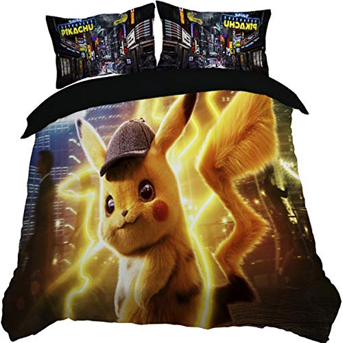 Paixide 3D Pikachu Duvet Cover Best Gift for Kids Printed Cartoon Anime 2pcs with Soft Mircrofiber Reversible, Twin by Paixide