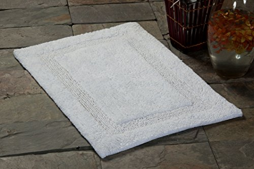 Saffron Fabs SPA Bath Rug 100% Soft Cotton, Size 50x30 Inch, Latex Spray Non-Skid Backing, Solid White Color, Textured Border, Hand Tufted, Heavy 190 GSF Weight, Machine Washable (One The Rugs Bath Big)