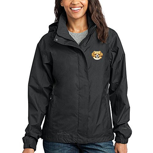 (Cherrybrook Dog Breed Embroidered Ladies Rain Jackets - X-Large - Black and Steel Gray - Tibetan Spaniel)