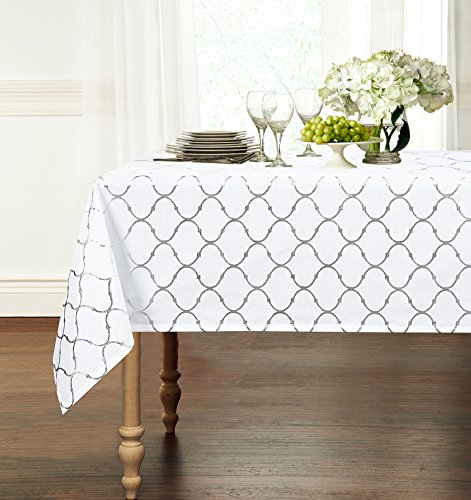 Premium Luxury Metallic Foil Lattice Quatrefoil Fabric Tablecloth - Assorted Sizes & Colors (54 in. x 102 in. (8-10 Chair), Silver)