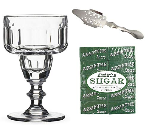 (Absinthe Sazerac Coupe Glass Set - Includes Absinthe Spoon, Coupe Glass, Sugar Cubes)
