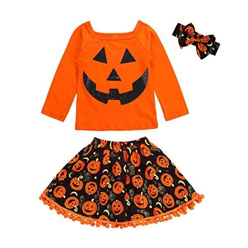 Iuhan  3Pcs Baby Outfit Set for Girls Halloween, 3Pcs Toddler Kids Baby Girls Pumpkin Tops Skirt Headband Halloween Costume Outfits Set (2-3Years, Orange)