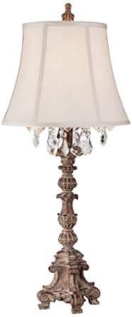 Etonnant Duval French Crystal Candlestick Table Lamp