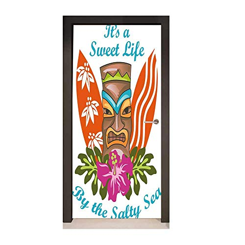 (Homesonne Tiki Bar Decor 3D Door Wallpaper Sweet Life by The Salty Sea Text with Tiki Figure and Hibiscus Flower Print Door Creative Decoration Multicolor,W23.6xH78.7)