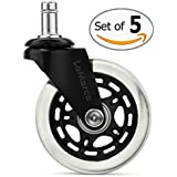 LaMarca Rollerblade Office Chair Wheels Caster Replacement for Carpet & Hardwood Floors (Set of 5)