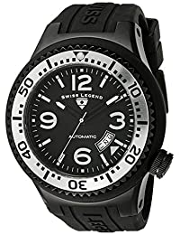 Swiss Legend Men's 11819A-BB-01-SB-W Neptune Automatic Black Dial Black Silicone Watch