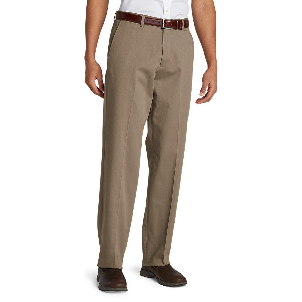 Eddie Bauer Mens Performance Dress Flat-Front Khaki Pants Relaxed Fit 35596