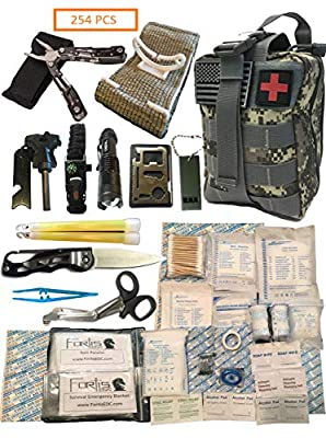Fortis EDC Survival First Aid Kit Molle Bag Tactical IFAK for Car Travel Camping Hiking RV and Home - with Israeli Bandage 4 inch Trauma and Multi-Tool - 254 Piece Includes Emergency CPR Mask by Fortis EDC