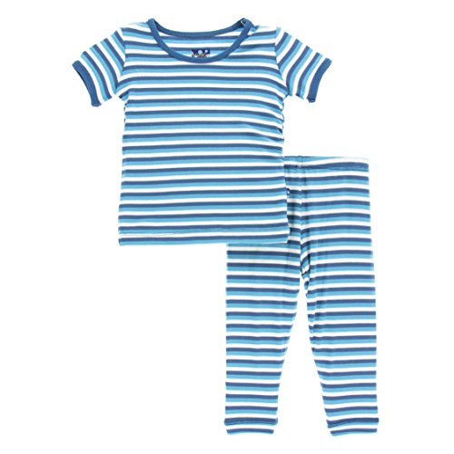 KicKee Pants Little Boys Print Short Sleeve Pajama Set, Confetti Anniversary Stripe, Boys 5 Years (Stripes Anniversary)