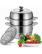 Stainless Steel Steamer Pot Thick-bottomed, 3 Tier Food Steamer for Cooking, Large Metal Steam Cooker, Work for Induction and Stove, Suitable for Tamale, Vegetable, Dumpling and Seafood, 15 Quarts