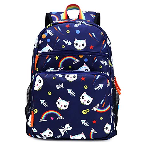 Kemy's Cat Backpack for Girls Rainbow Kitten Schoolbag Primary Junior Elementary High School Bookbag for Kids Packie Water Resistant Large Birthday Gift Navy Blue