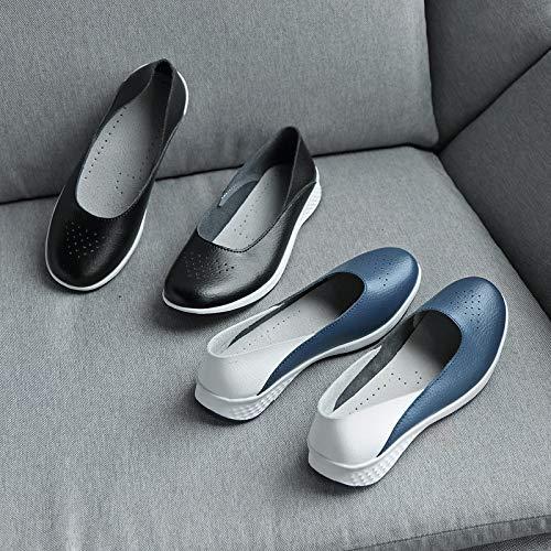 Da Fuxitoggo 36 Grandi Donna Scarpe colore Blu Rocker Sole Walking Nero Breathabel Di Dimensione Leather Dimensioni Trainers Eu qqnr5FW
