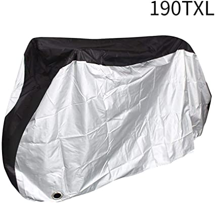 Black/&Silver Toptrek Bike Cover Waterproof Outdoor Storage Bicycle Cover for Mountain Bike Road Bike Dirt Rain Snow Bike Protection Large XL Size Heavy Duty 210D Oxford Fabric