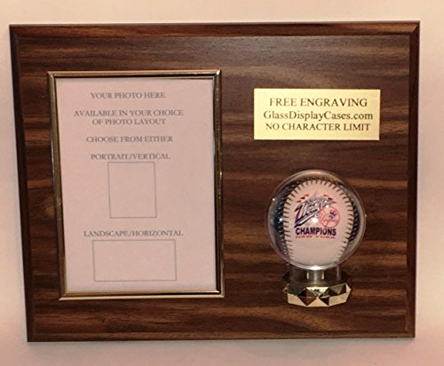 Baseball and 8X10 Photo Vertical or Horizontal Choice Display Case Plaque - Wood Color Choice - (8x10 Photo Display Case)