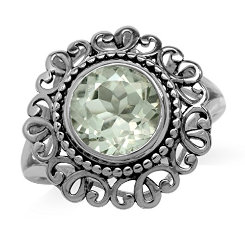 (3.3ct. 10MM Natural Round Shape Green Amethyst 925 Sterling Silver Filigree Balinese Style Ring Size 9)