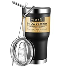 Homitt 30 OZ Stainless Steel Tumbler Double Wall Insulated Vacuum Tumbler Bundle with Splash Proof Lid, 2 Stainless Straw, Cleaning Brush - Black
