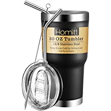 Homitt 30 oz Stainless Steel Tumbler Double Wall Insulated Vacuum Tumbler Powder Coated Tumbler with Splash Proof Lid, 2 Stainless Straw, Cleaning Brush   Gift for Mom Wife Grandma