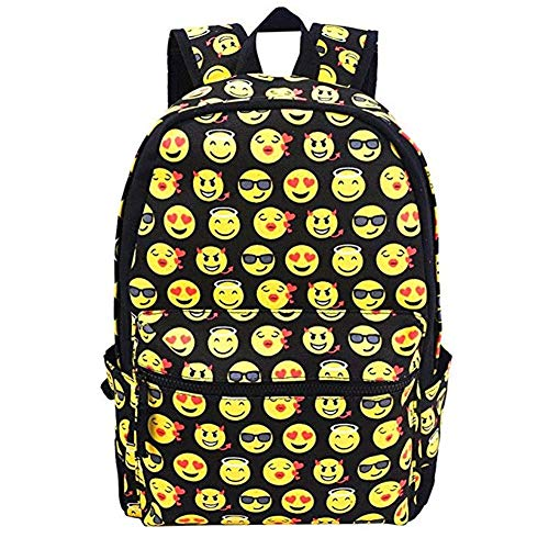 Emoji Kids School Canvas Backpack Smiling Face Satchel for Traveling Shopping Casual Daypacks by ONEGOL