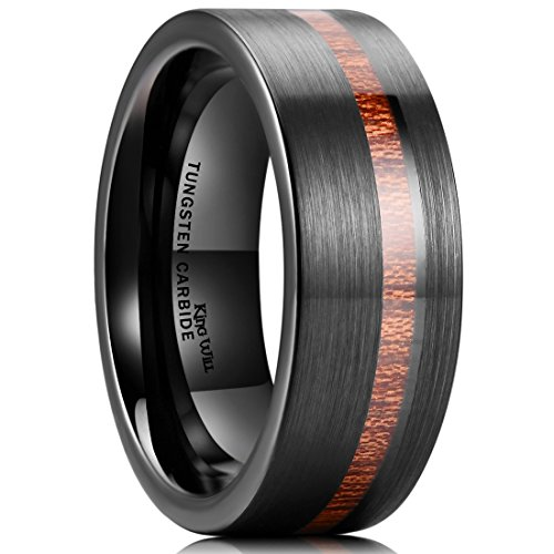 King Will Nature 8mm Wood Inlay Polish Unisex Black Tungsten Carbide Wedding Band Engagement Ring 8