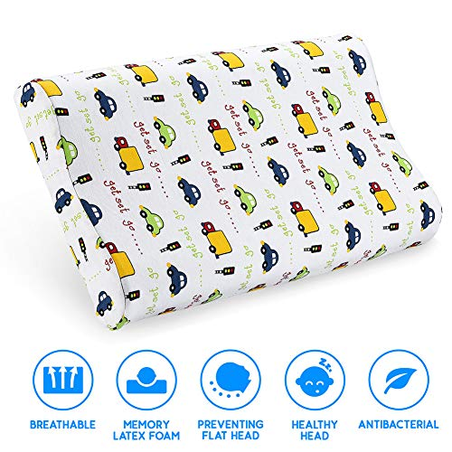 Kids Toddler Pillow- Kids Pillows for Sleeping- Children's Latex Memory Foam Pillow with Organic Cotton Pillowcase for Baby Boys Girls Age 1-8 Years Old ()